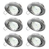 sebson® 6X Spot encastrable Type 11 INCL. 5W Ampoules 230V LED Module Ra95 Flicker Free 400lm, Blanc Chaud 3000K, Downlight orientable alu ø83x21mm