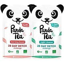 Panda Tea - Thé et Infusion Detox Cure Minceur Bio - 56 Sachets/Infusettes Coton - Challenge 28 jours - Certifié Biologique