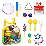 Musical Instrument for Toddler, Wooden Percussion Toys for Girls and Boys 13 Pcs, Band-in-a-Box Mini Rhythm Music Kit for Toddlers, Baby Toy Gift with Free Bag