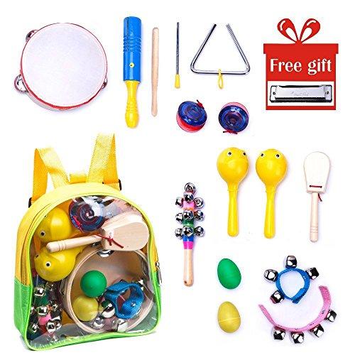 Kinder Musikinstrumente Set - mit einer Mundharmonika - Musik Spielzeug rhythmusinstrumente - 15 Stück Holz Percussion Schlagzeug Schlagwerk - perferkt als Geschenke für Baby, Jungen und Mädchen