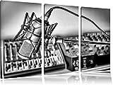 Monocrome, microfono con sistemi musicali 3 pezzi di immagine tela 120x80 immagine sulla tela, XXL Immagini enormi completamente Pagina con la barella, la stampa arte murale con telaio gänstiger come un quadro o di un dipinto a olio, nessun manifesto o poster