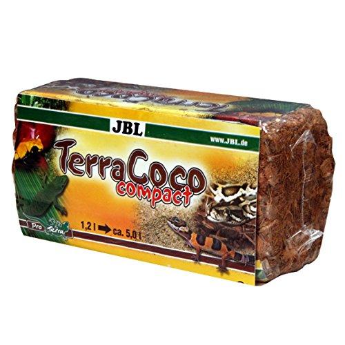 JBL TerraCoco Compact 71025 Bodengrund für alle Terrarientypen, Kokoschips, komprimiert, 450 g, 5 l