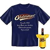 Geschenke Set GoodmanDesign zum 65. Geburtstag Männer lustiges T-Shirt Jahrgang 1952 und BIRTHDAY Flaschenshirt Gr: L in navy-blau : )