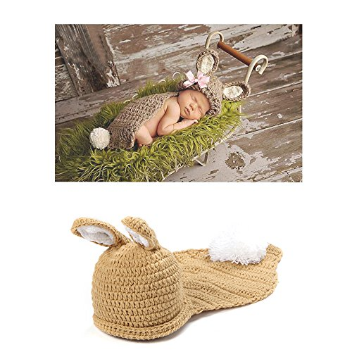 Tbslee Neugeborene Fotografie Requisiten Kaninchen Kostüm, 100% Handgemachte Baby Foto-Shooting - Kostüm Foto Shooting