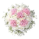 Gaddrt Fiore Artificiale Bouquet da sposa Bouquet Crystal Rose Pearl Damigella d'onore Wedding Bouquet Sposa fiore di seta artificiale (A)