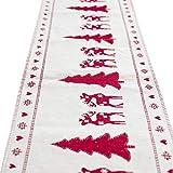 Liny Weihnachts Tischläufer Tischdecke Flaggen Tischtuch Rechteckige Weihnachtsbaum Elk Schneemann-Muster Verzierun Weihnachtsfeier Dekoration,35 X180 CM