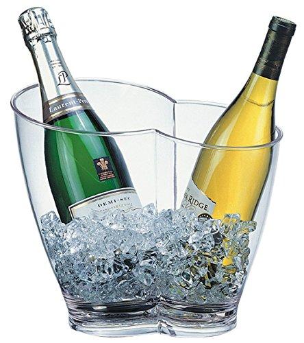 Wein-/ Sektkühler aus MS Kunststoff, glasklar, für zwei Flaschen, stapelbar / 30,5 x 21,5 x 26 cm,...