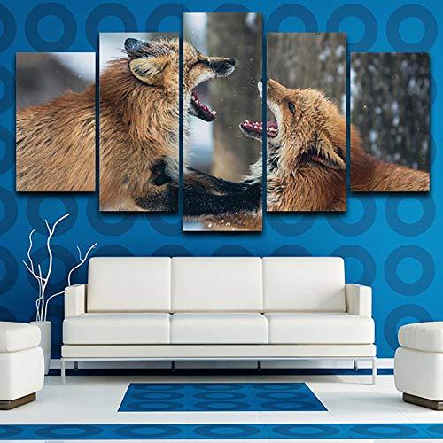 LAKHAFZY Leinwandbild 5 Moderne Leinwand Wohnzimmer Wild Fox Tier Hd Wandkunst Modulare Poster Wohnkultur -