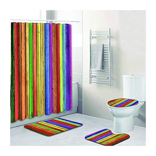 Daesar Cortinas de Ducha 180x180 Alfombras de Baño 3 Piezas Arco Iris Colorido Juego de 4 Accesorios...