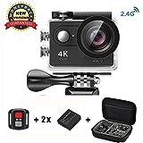 Action Cam 4K Daping Action Kamera Wasserdicht Unterwasserkamera 170° Weitwinkel Action Camera Sports 1080P Full HD Helmkamera mit 2.4G Remote 2 Batterien und Zubehör Kits Schwarz