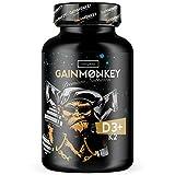 Original GAINMONKEY VITAMIN D3 + K2 | 60 Kapseln hochdosiert für Sonnenanbeter | Perfekt geeignet für die dunkleren Jahreszeiten Sonnenvitamin