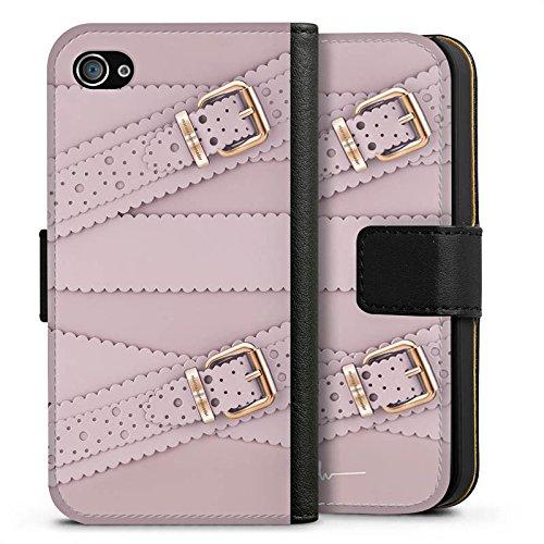 Apple iPhone X Silikon Hülle Case Schutzhülle Leder Mode Schnallen Sideflip Tasche schwarz