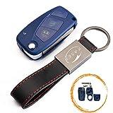 Schlüssel Gehäuse Fernbedienung für FIAT 3 Tasten Autoschlüssel Funkschlüssel Punto Panda Ducato Ulysse (with Battery Place blu) + Leder Schlüsselanhänger KASER