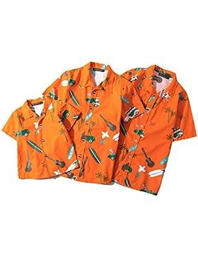 Highdas Camicia Hawaiana da Famiglia Montato Manica Corta Casual Stampa Top Estivo Uomo Donne