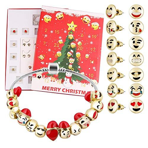 Uhwwdjhke Mädchen,Süß Weihnachten Advent Countdown Kalender DIY 24 Tage Charms Armband Emoji Perlen Ohr Studs Set Überraschungsbox für Mädchen Frauen Weihnacht