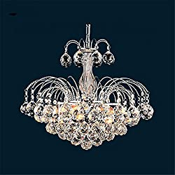 Maxmer Crystal Chandelier European Luxury Fountain Style Ceiling Pendant Light with Crystal Balls for Living Room Kitchen Hallway Pendant Lamp