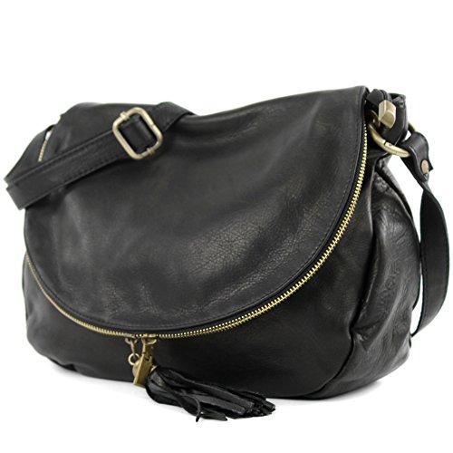 modamoda de - ital. Ledertasche Damentasche Schultertasche Umhängetasche Nappaleder T40 Schwarz Large
