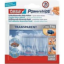 tesa Powerstrips Deco-Haken, transparent, für max. 1kg, Packung mit 2 Groß Haken