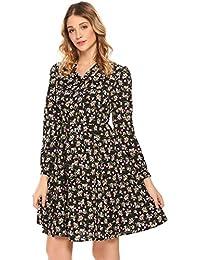 Zeela Damen Langarm Blumen Kleid Knielang Geblümtes Kleid mit Muster Abendkleid  Partykleid mit Schleife 4c12cd7bea