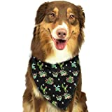 Pet Dog Bandana Scarf Pack Triangle Bibs Western Cactus Flowers Black Printing Kerchief Set Accessories for Small to Large Dogs Cats Pets
