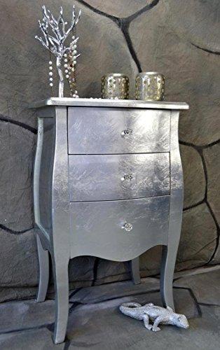 Livitat Kommode mit 3 Schubladen H76 cm Pomp Barock Antik pompös Landhaus LV2024 (Silber)