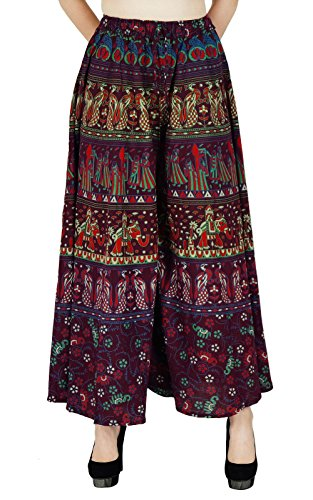 Yoga Sarouel Aladdin Hippie Baggy Femme Pantalons Plazzo Plum Et Beige