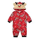 Weihnachten Eltern-Kind Home Service Set Baby Langarm Kapuze Weihnachten Hirsch Print Overalls...