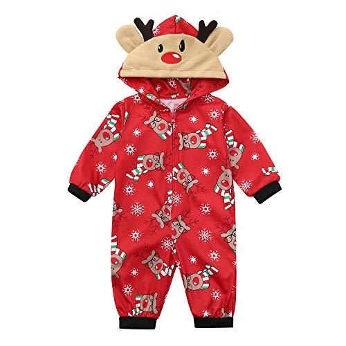 (Familie Schlafanzug Pyjama Weihnachten Baby Kinder Mama Papa Xmas Rentier Hausanzug Nachtwäsche Schlafanzug Pyjama Set Jumpsuit ABsoar Familienanzug Pyjamas (3 Monate, Rot für Baby))