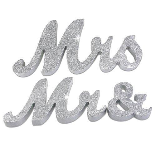 JYSPORT Holzbuchstaben Hochzeitsdekoration Tischdeko Hochzeits Dekoration Buchstaben Valentines Geschenk Zeremonielle Décor (MR and MRS) (silver)