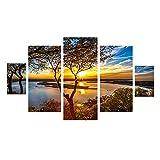 sunnymi Bild,Frameless Stitching Leinwand,Hängende Gemälde,Fashion Kunst Wall Art Print Canvas Picture,Zuhause Mauer Dekoration Wandbilder (Sonnenuntergang Äste Seeufer, 25*40cm*2,25*50cm*2,25*60cm*1)