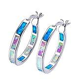 OMZBM Labor Feueropal Hoop Ohrringe 925 Sterling Silber Multi-Color-Schnalle Ohrringe Rhodium Überzogene Mädchen Mütter Tag Birthstone Geschenk,Color