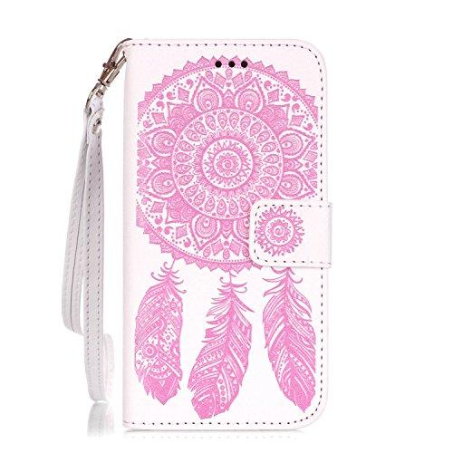 iPhone 6s Plus Hülle Traumfänger, LuckyW Einfarbig Traumfänger Mandala Muster Pattern PU Leder Hülle für Apple iPhone 6 Plus/6S Plus(5.5 zoll) TPU Soft Rückseite Abdeckung Ledertasche Brieftasche Flip Weiß