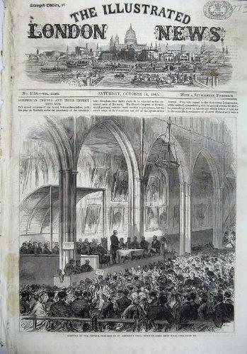 Hall 1865 de St Andrew du Congrès d'Église de Beaux-Arts Norwich par original old antique victorian print