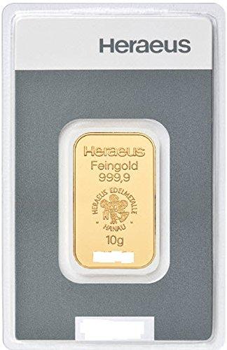 Goldbarren 10 g 10g Gramm Heraeus - Feingold 999.9 im Scheckkartenformat - LBMA zertifiziert - Anlagegold online kaufen - Edelmetalle als Anlage und Geschenk
