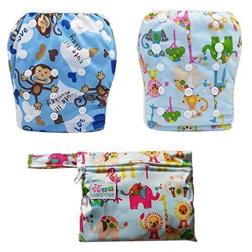 MARIPOSA | Costume contenitivo bambino e neonato per piscina e mare (0-2 anni) Regolabile e Lavabile - Confezione da 2 con borsetta contenitiva impermeabile (Animali e Scimmiette)