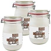 Guru Kokosöl nativ & naturrein -Bio Qualität- (3x1000ml Bügel-Glas)