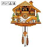 Kintrot Pendule à coucou Chalet de la Forêt-Noire Horloge murale en bois avec pendule murale pendule oiseau mobile, danseuses, moulin à eau, bûcheron 12 mélodies différentes