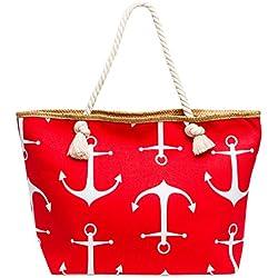 CASPAR TS1039 XL Bolso de Mano para Mujer / Bolso de Hombro de Playa con Dibujo de Anclas, Color:rojo;Tamaño: Talla Única