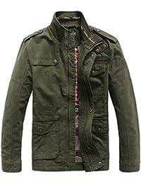 62e4d18d7cf63 JIINN Hombre Primavera Otoño Invierno Casual algodón clásico Multi-Bolsillo  Metal Zipper Cargo Estilo Militar Chaqueta…