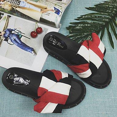 zhENfu Donna Sandali Primavera Estate Comfort PU Abbigliamento Sportivo tacco piatto Bowknot Ruby