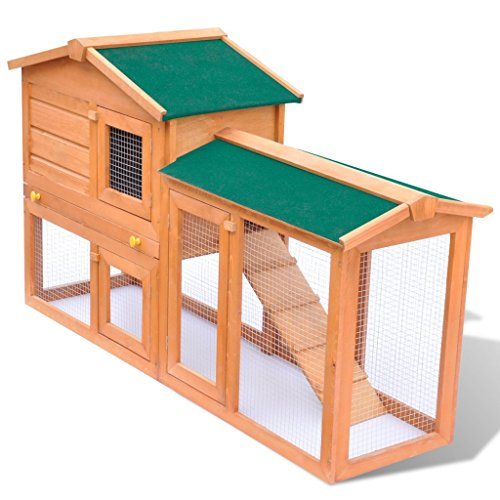 vidaXL Grande gabbia coniglio all'aperto Casa piccoli animali domestici Legno
