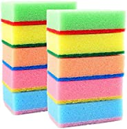 HOME CUBE® Set of 10 Multi-Purpose Cleaning Sponges Scourer - with One Side Absorbent Sponge and Other Side Sc