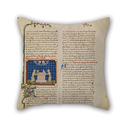 Alphadecor Oil Painting Master Of Jean De Mandeville (French, Active 1350 - 1370) - Cain And Abel Offering Gifts Pillowcase/Copricuscini e federe 20 X 20 Inches / 50 By 50 Cm Best Choice For Saloon,office,boy Friend,dan