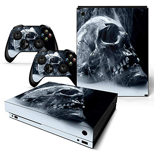 Skin für Xbox One X Konsole und 2 Controller Full Cover Wrap Decal Dark Skull