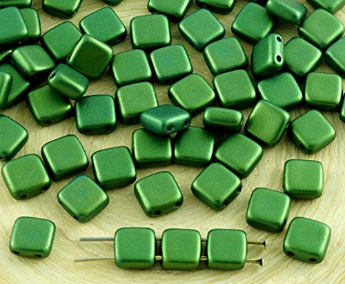 40pcs Gold Shine Dark Olive Green Matte Fliese Tschechische Glas Beads 2-Hole Flat Square 6mm x 6mm (Olive Green Gläser)