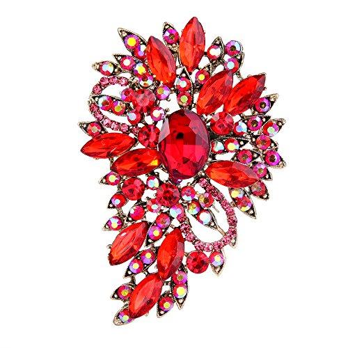 Ever Faith Damen Marquise Österreichische Kristall Hochzeit Blume Blatt Bouquet Brosche rot Gold-Ton