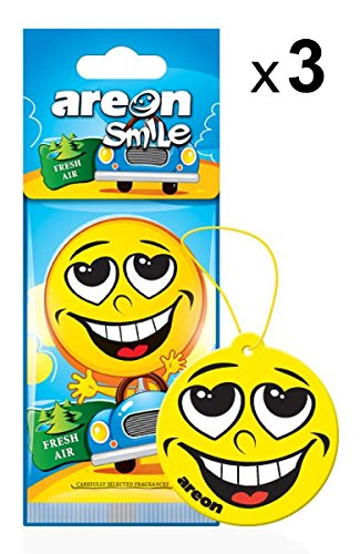 AREON Smile Deodorante Auto Fresh Air da Appendere Specchietto Retrovisore Divertenti Set 3