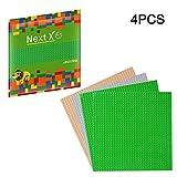 NextX 4 Stück Bauplatte für Classic Bausteine Plastik Grundplatte 25 x 25 cm - Grün+Grau+Sand Weihnachtsgeschenk