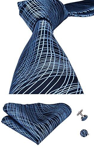 Hi-Tie Cravatta classica da uomo con gemelli e pochette 36343c861d2