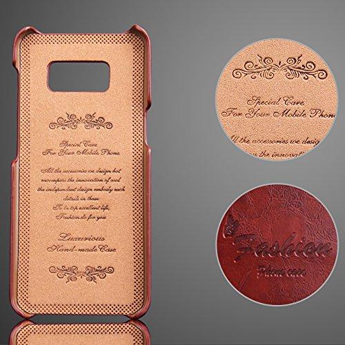 Samsung Galaxy S8/S8 Plus + Echt Leder Case Hülle Handy Schutzhülle mit Kartenfächer Rot